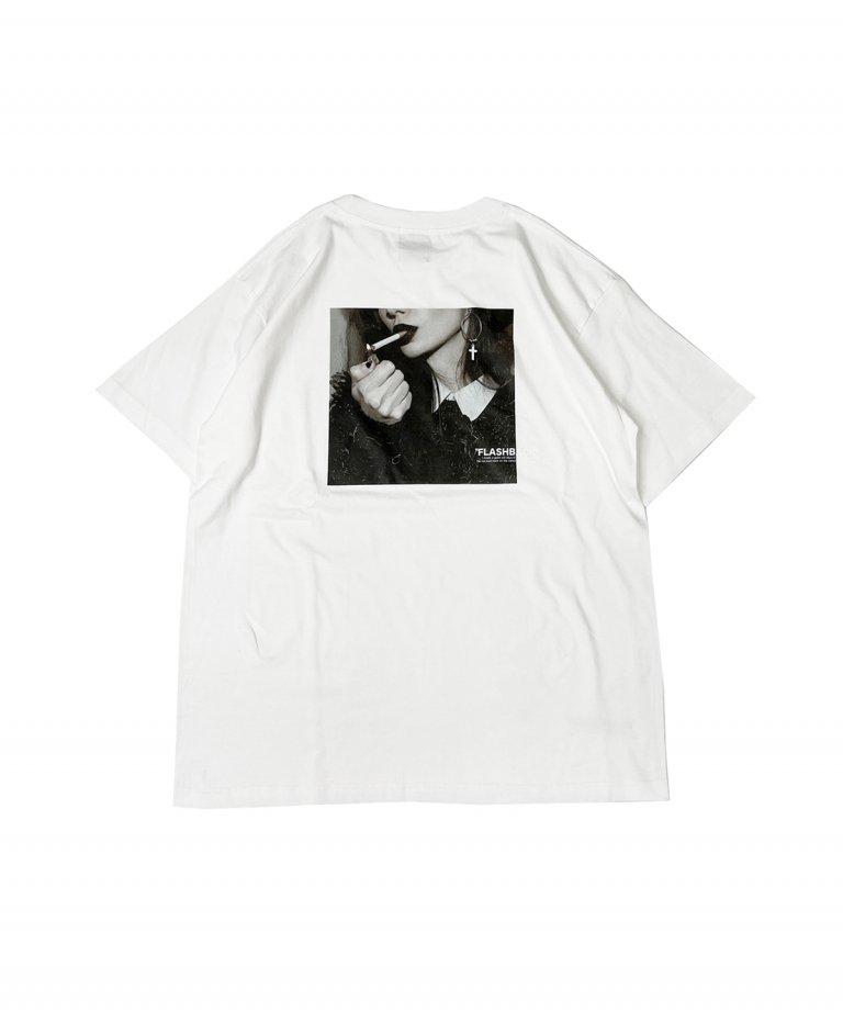 【FLASHBACK】SmokingLady Photo OVERSIZE T-Shirts.WHT