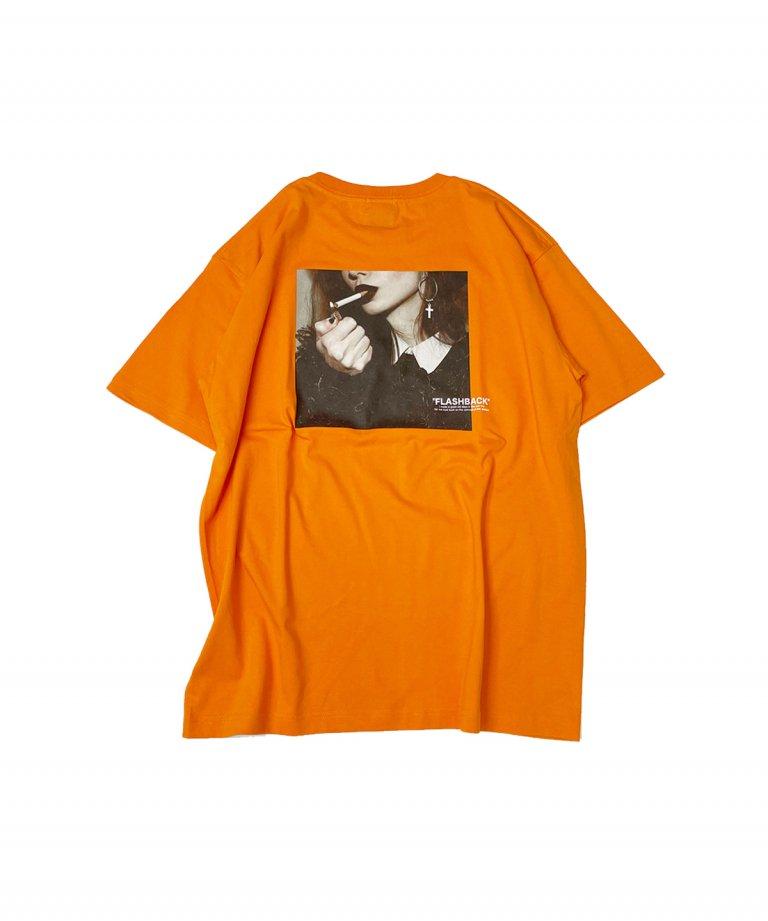 【FLASHBACK】SmokingLady Photo OVERSIZE T-Shirts.ORANGE