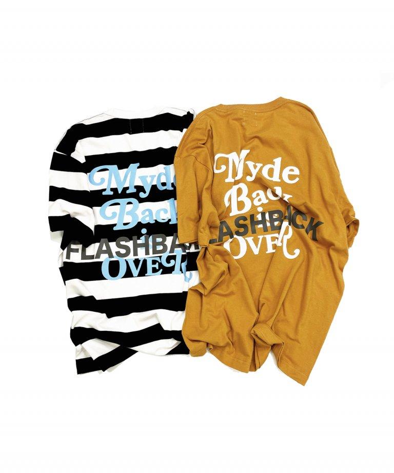 【FLASHBACK最新作】''Myde Back is OVER'' Reflector OVERSIZE  T-Shirts Border×BLUE