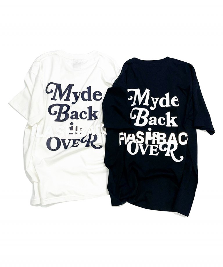 【FLASHBACK最新作】''Myde Back is OVER'' Reflector OVERSIZE  T-Shirts WHT×NAV
