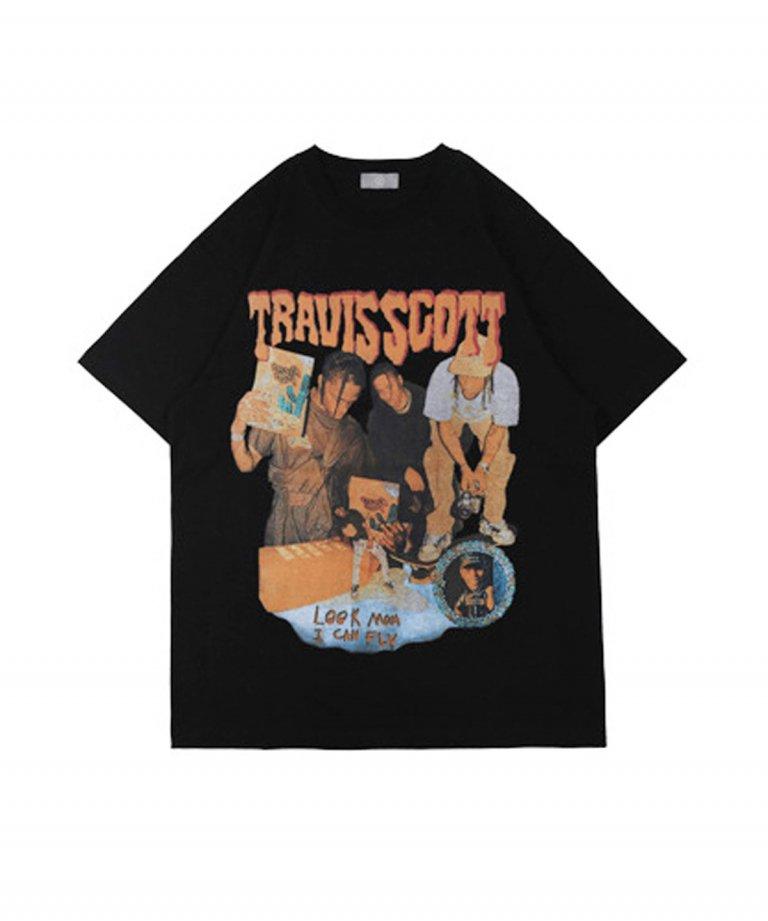 【決算セール!!30%OFF】【USA Select】 Travis Scott 2 OVERSIZE Vintage T-Shirts.BLK