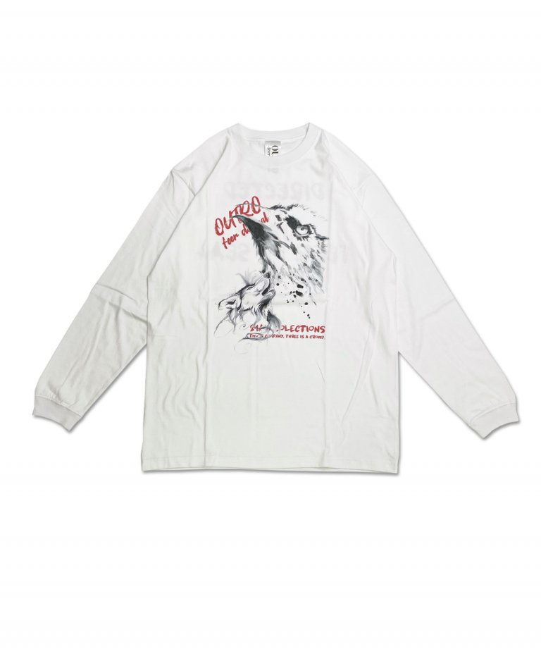 OUTRO-feer de seal-  Painting Eagle Wolf LS Tee WHT