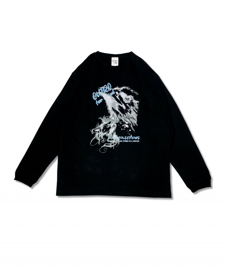 OUTRO-feer de seal-  Painting Eagle Wolf LS Tee BLK