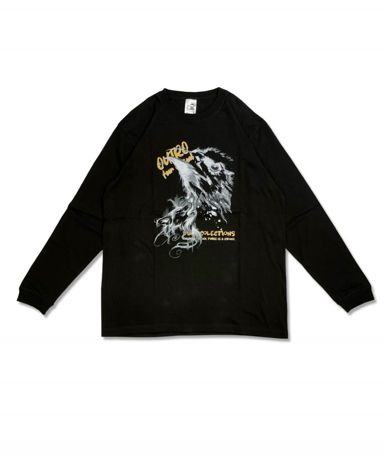 OUTRO-feer de seal-  Painting Eagle Wolf LS Tee CHARCOAL