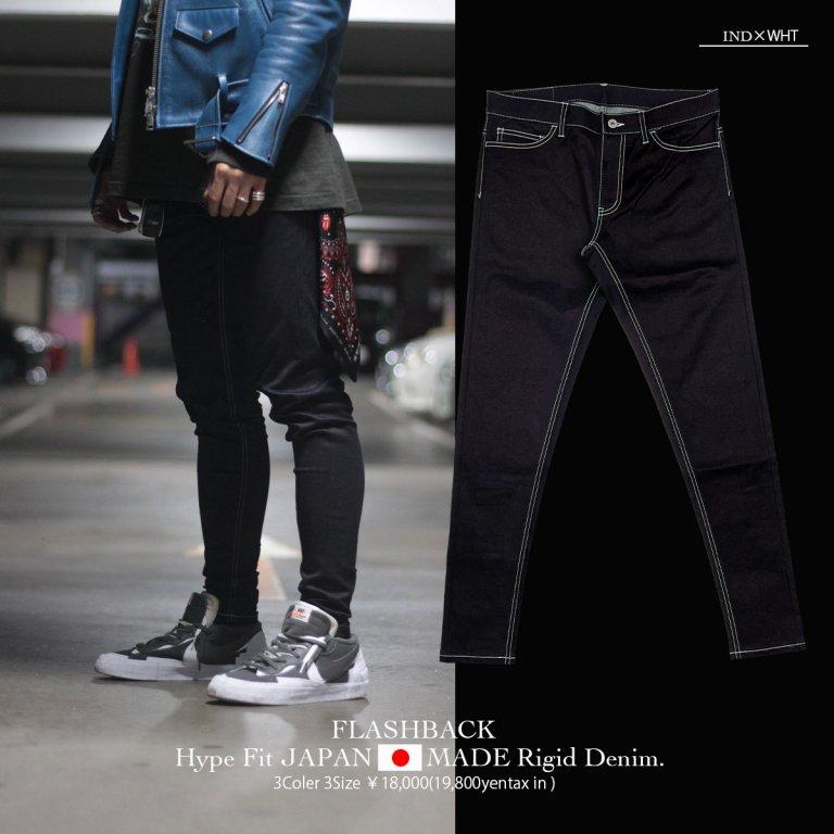 【FLASHBACK最新作21AW】Hype Fit JAPANMADE Rigid Denim Type:IND×WHT