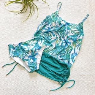 【Mermaid by the sea】マーメイドバイザシー ヤシの木柄 タンキニ ホワイト 9号