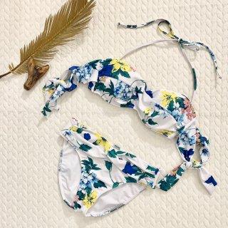 【EMODA】エモダ リボンショルダー クロスバンドゥ 花柄 ホワイト9号