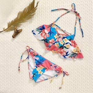 【Beach Queen】ビーチクイーン 胸元クロス フレア トロピカル花柄 ピンク9号
