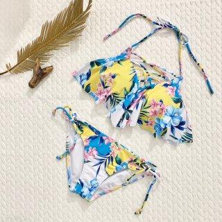 【Beach Queen】ビーチクイーン 胸元クロス フレア トロピカル花柄 イエロー9号