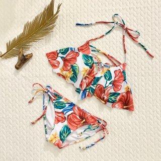 【Beach Queen】ビーチクイーン 胸元クロス フレア トロピカル花柄 レッド9号