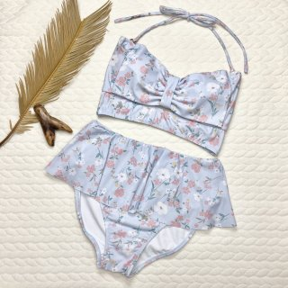 【dazzlin】ダズリン ビッグリボン フリルボトム 小花柄 ブルー 9号