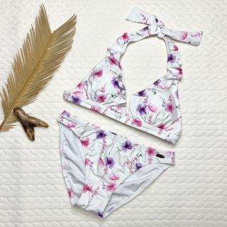 【Beach Venus】ビーチビーナス ホルター 三角フリル 花柄 ホワイト 11号