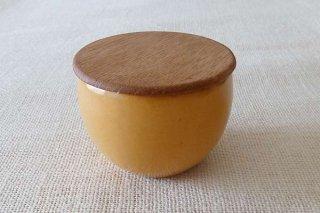 黄釉 シュガーボウル(蓋つき)