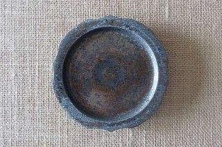 黒銀釉 稜花豆皿