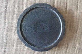 黒銀釉  稜花5寸皿