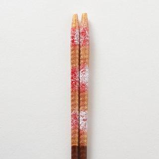 雪和 赤・金 / すり漆らせん彫り