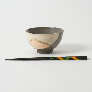 箸・飯碗セット 翼 黒 / とんぼ玉あやとり