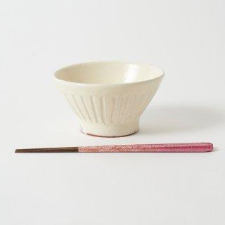 箸・飯碗セット 綾 桃 / 手ひねり先角
