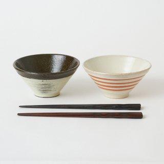 箸・飯碗ペアセット 漣 / 削り木目