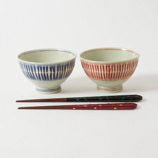 箸・飯碗ペアセット 雫 / 手描き先細