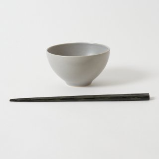 箸・飯碗セット 夢 薄墨・黒 / 堆朱