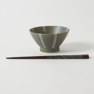 箸・飯碗セット 栞 黒 / 削り和紙巻き