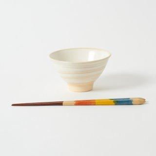 箸・飯碗セット 峰 青 / 手描き先細