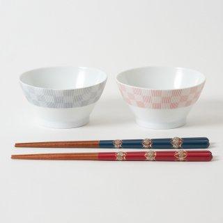 箸・飯碗ペアセット 光 / ラメとんぼ玉
