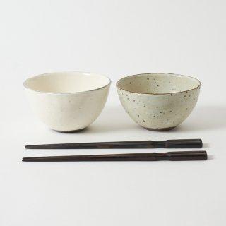 箸・飯碗ペアセット 嶺 / 削り木目