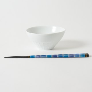 箸・飯碗セット 湖 青 / とんぼ玉 細身