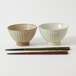 箸・飯碗ペアセット 浬 / 彫り