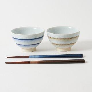 箸・飯碗ペアセット 流音 茶 / グラデーション