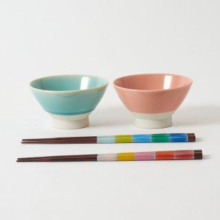 箸・飯碗ペアセット 衣 / とんぼ玉